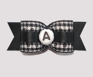 "#2944 - 5/8"" Dog Bow - B/W Gingham w/Black - Choose Your Letter"