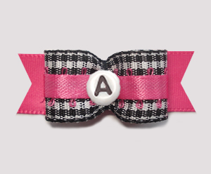 "#2945- 5/8"" Dog Bow- B/W Gingham w/Hot Pink - Choose Your Letter"