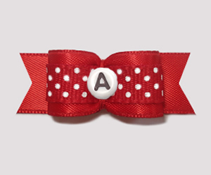 "#2946 - 5/8"" Dog Bow - Sweet Red/White Dots - Choose Your Letter"