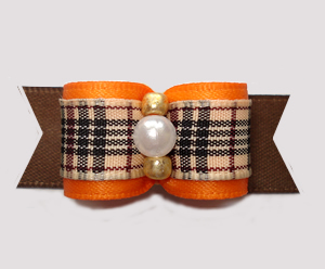 "#2947 - 5/8"" Dog Bow - Chic Designer Plaid, Orange/Brown"