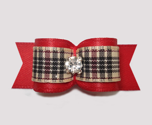 "#2949 - 5/8"" Dog Bow - Designer Plaid, Classic Red, Rhinestone"