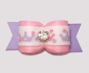 "#2951 - 5/8"" Dog Bow - Princess Crowns, Soft Pink/Lavender"