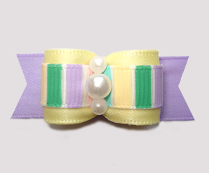 "#2952 - 5/8"" Dog Bow - Pretty Spring Pastels, Yellow/Lavender"