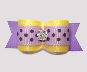 "#2955 - 5/8"" Dog Bow - Sprinkle of Dots, Yellow/Lavender"