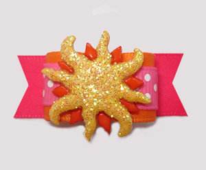 "#2960 - 5/8"" Dog Bow - Sizzlin' Summer Sun, Hot Pink/Orange"
