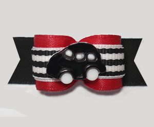 "#2964 - 5/8"" Dog Bow - Vroom! Black Car on Racing Stripes w/Red"