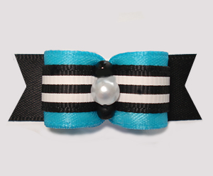 "#2965 - 5/8"" Dog Bow - Vibrant Blue with Black/White Stripes"