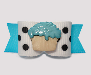 "#2967 - 5/8"" Dog Bow - Chic Black & White Dots, Blue Cupcake"
