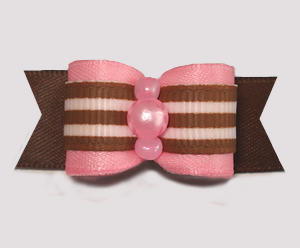 "#2977 - 5/8"" Dog Bow - Sweet Pink with Brown/White Stripes"
