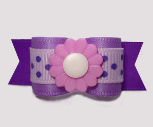 "#2978 - 5/8"" Dog Bow - Perfect 'n Pretty Purples, Dots 'n Daisy"