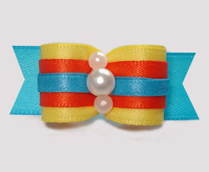 "#2980 - 5/8"" Dog Bow - Color Me Happy, Sunny Yellow/Orange/Blue"