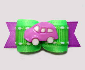 "#2987 - 5/8"" Dog Bow - Vroom! Purple Car on Neon Green/Purple"