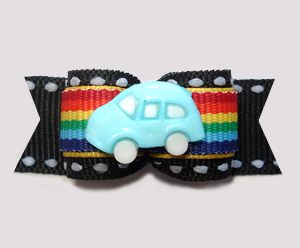 "#2988- 5/8"" Dog Bow - Vroom! Blue Car on Rainbow Stripes w/Black"