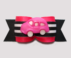 "#2990 - 5/8"" Dog Bow - Road Trip! Hot Pink Car on Hot Pink/Black"