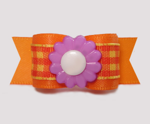 "#3004 - 5/8"" Dog Bow - Autumn Candy Corn Plaid, Purple Daisy"