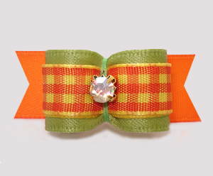 "#3006 - 5/8"" Dog Bow - Autumn Sage/Candy Corn Plaid, Rhinestone"