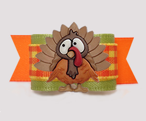 "#3008 - 5/8"" Dog Bow - Thanksgiving Turkey, Autumn Sage/Plaid"