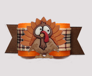 "#3009 - 5/8"" Dog Bow - Thanksgiving Turkey, Chic Designer Plaid"