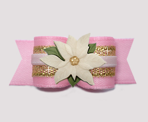 #3010 - 5/8 Dog Bow - Holiday Princess, Pink/Gold w/Poinsettia