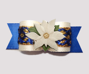 "#3013 - 5/8"" Dog Bow - Royal Blue/Cream/Gold, Ivory Poinsettia"