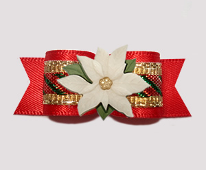 "#3014- 5/8"" Dog Bow- Candy Cane Sparkle on Red, Ivory Poinsettia"