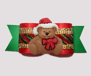 "#3015 - 5/8"" Dog Bow - Candy Cane Sparkle, Christmas Teddy"