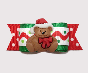 "#3016 - 5/8"" Dog Bow - Holiday Squiggles 'n Dot, Christmas Teddy"