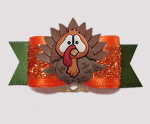 "#3018- 5/8"" Dog Bow- Gorgeous Autumn Glitter, Thanksgving Turkey"