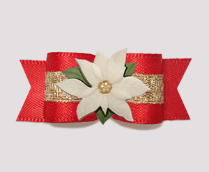 "#3019 - 5/8"" Dog Bow - Rich Red Satin w/Gold, Ivory Poinsettia"