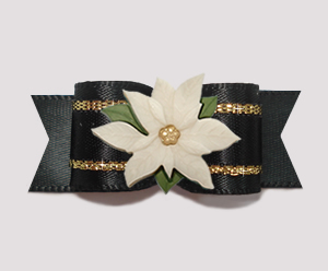 "#3020- 5/8"" Dog Bow- Gorgeous Black Satin/Gold, Ivory Poinsettia"