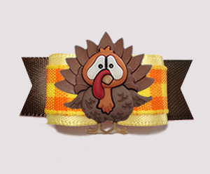 "#3022 - 5/8"" Dog Bow - Autumn Plaid, Thanksgiving Turkey"