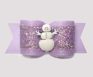 "#3023 - 5/8"" Dog Bow - Lovely Lavender, Winter Shimmer, Snowman"