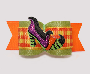 "#3030- 5/8"" Dog Bow- Autumn Sage/Candy Corn Plaid, Witch's Shoe"