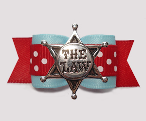 "#3035- 5/8"" Dog Bow - Light Blue, Red/White Dots, Sheriff's Star"