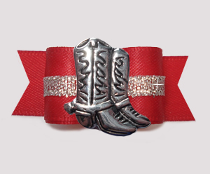 "#3037 - 5/8"" Dog Bow - Classic Red/Silver, Country Western Boots"