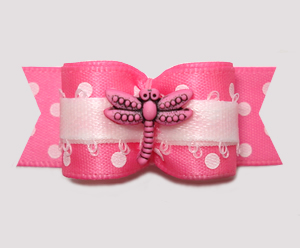 "#3041 - 5/8"" Dog Bow - Flutter Dragonfly, Pretty Pink w/Dots"