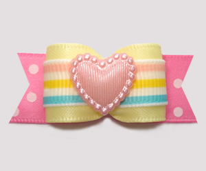 "#3042 - 5/8"" Dog Bow - Little Love Princess, Pink Heart"