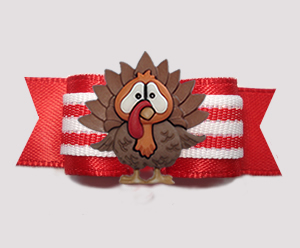 "#3044 - 5/8"" Dog Bow - Christmas Turkey, Candy Cane Stripes"