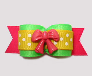 "#3048- 5/8"" Dog Bow - Delightful Brights, Lime/Yellow/Pink w/Bow"