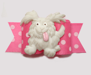"#3051 - 5/8"" Dog Bow - Happy Playful Pup, Pink/White Dots"