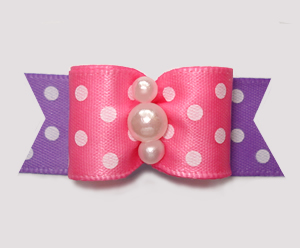 "#3055 - 5/8"" Dog Bow - Little Sugar, Pink/Lavender w/White Dots"