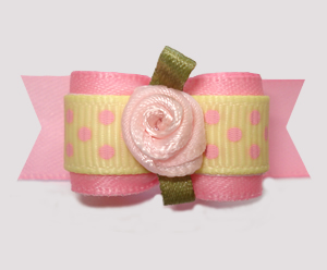 "#3058- 5/8"" Dog Bow- Baby Sweet Dots, Pink/Soft Yellow w/Rosette"