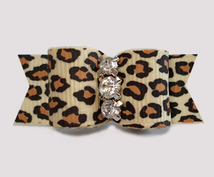 "#3059- 5/8"" Dog Bow - Gorgeous Leopard Print, Triple Rhinestones"