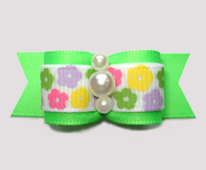 "#3060- 5/8"" Dog Bow - Petite Spring Flowers on Bright Fresh Lime"