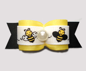 "#3062 - 5/8"" Dog Bow - Happy Little Busy Bees, Yellow & Black"