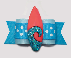 "#3067- 5/8"" Dog Bow- Surf's Up! Beach Blue/White Dots, Surfboard"