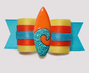 "#3069 - 5/8"" Dog Bow - Surf's Up! Sunny Multi-Colors w/Surfboard"