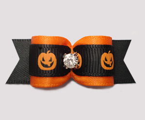 "#3070 - 5/8"" Dog Bow - Happy Little Pumpkins, Orange/Black"