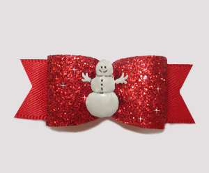 "#3075 - 5/8"" Dog Bow - Showy Red Glitter w/Happy Little Snowman"