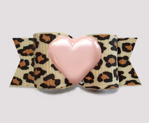 "#3087- 5/8"" Dog Bow - Gorgeous Leopard Print w/Pretty Pink Heart"